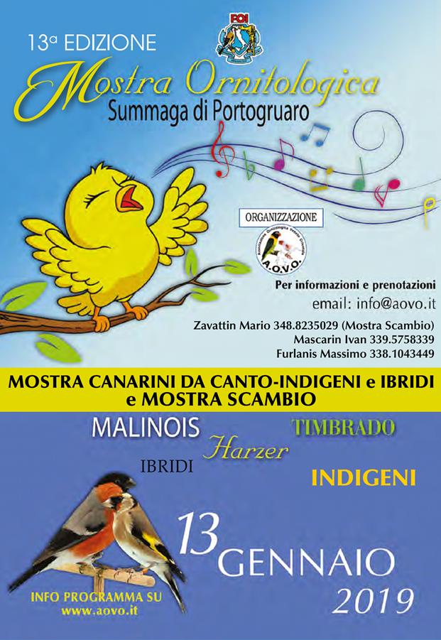 Calendario Fiere Ornitologiche.A O V O Associazione Ornitologica Veneto Orientale